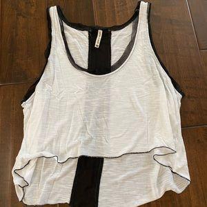Lf White and black mesh top